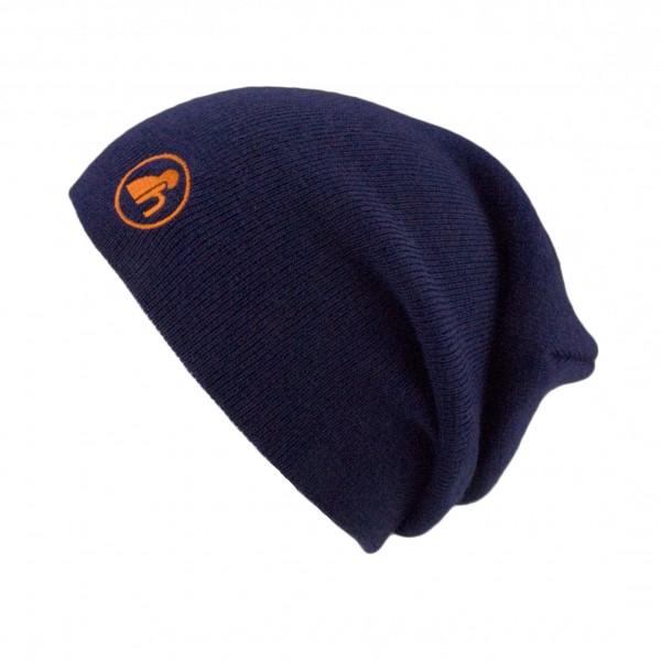 haubn Merino Beaniemütze blau Logo orange