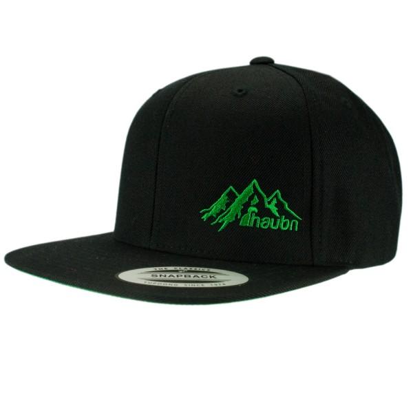 haubn Snapback Cap Classic schwarz logo mountain gruen
