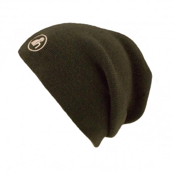 haubn Merino Beaniemütze dunkelbraun Logo beige