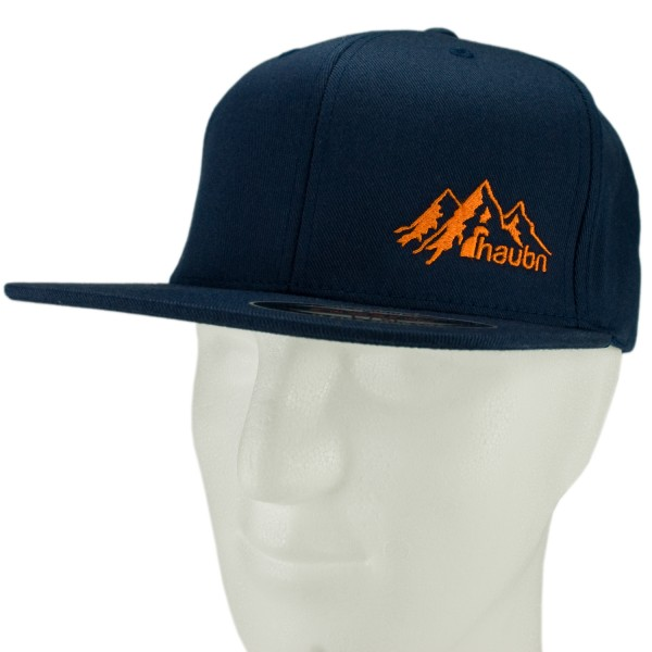 haubn Flexfit Cap Classic navyblau logo mountain orange