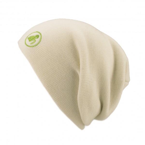 haubn Merino Beaniemütze weiß Logo grün