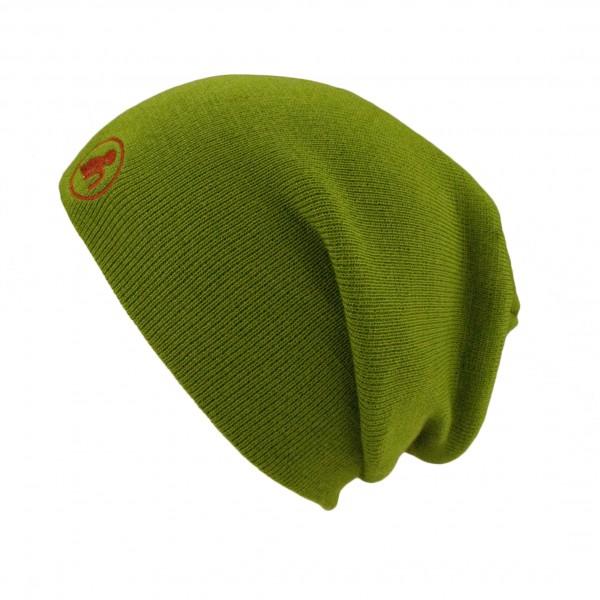 haubn Merino Beaniemütze grün Logo rot
