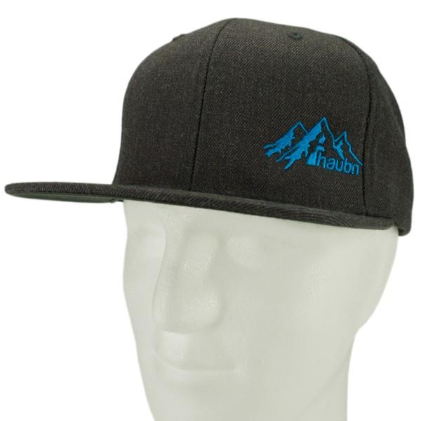 haubn Snapback Cap Classic dunkelgrau logo mountain blau