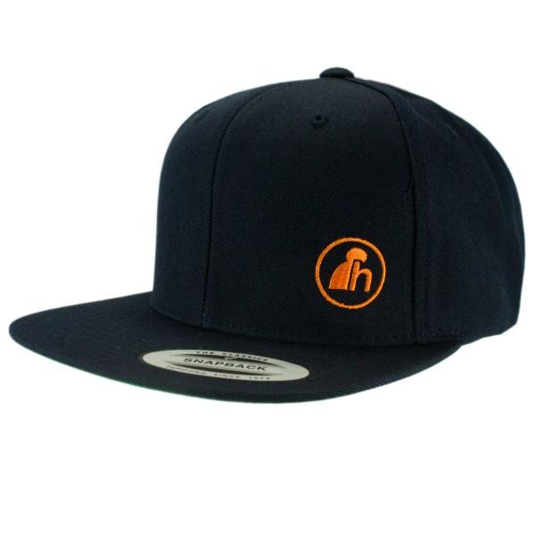 haubn Snapback Cap Classic schwarz logo h orange
