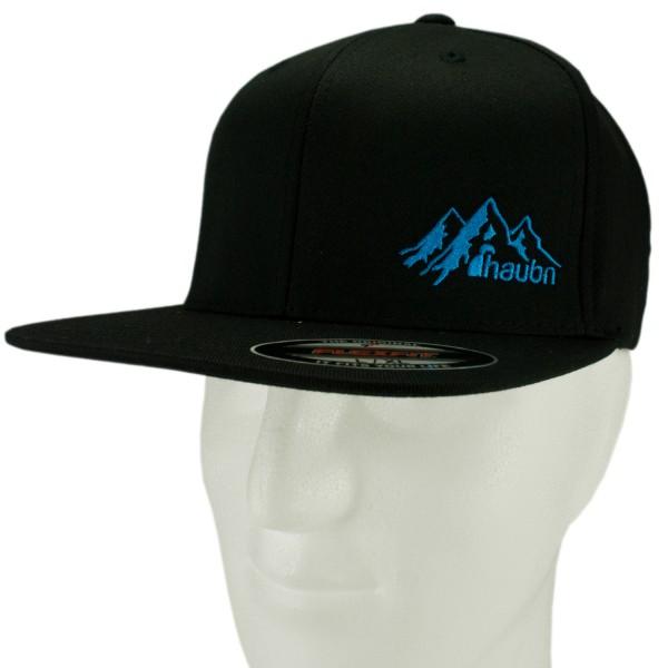 haubn Flexfit Cap Classic schwarz logo mountain blau-