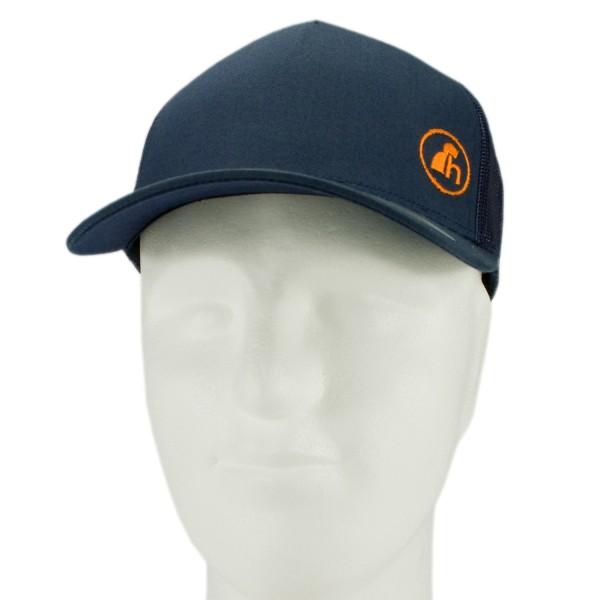 haubn Snapback Cap Trucker navyblau Logo h orange