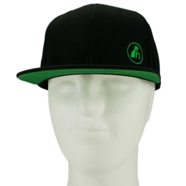 haubn Snapback Cap Classic schwarz logo h grün