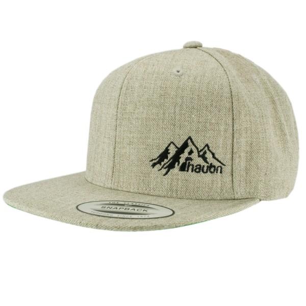 haubn Snapback Cap Classic hellgrau logo mountain schwarz