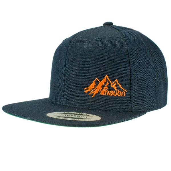 haubn Snapback Cap Classic navyblau logo mountain orange