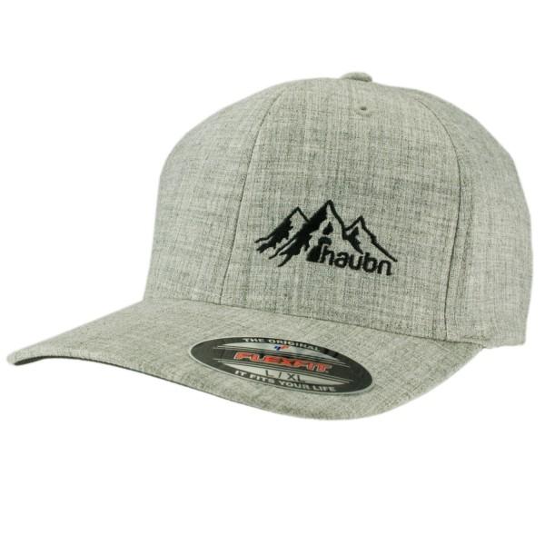 haubn Flexfit Cap Classic hellgrau logo mountain schwarz